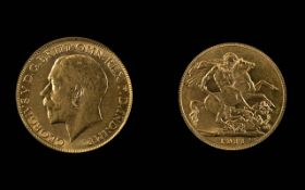 George V 22ct Gold Full Sovereign - Date 1911. London Mint - High Grade Coin. Weight 7.98 grams.