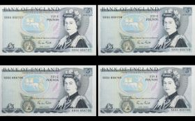 Bank of England Series D Five Pound Banknotes ( 4 ) Banknotes - Uncirculated In Executive Numbers