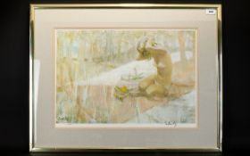 Signed Thornton Utz Limited Edition Print 'Picnic'. Framed and behind glass.