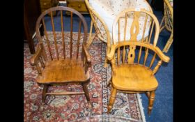 Child's Fruit Wood Windsor Chair Spindle back with turned legs and cross stretcher.