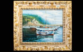 W Chapman Oil On Canvas Untitled Depicting a harbour scene with mountains to background.