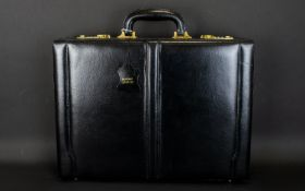 Gentleman's Calf Leather Briefcase With Combination Lock And Fitted Stationary Interior. Suede And