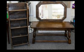 1920's Oak Framed Wall Mirror Octagonal design with moulded bead edge,