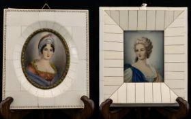 A Pair Of 20th Century Portrait Miniatures Circa 1940's Each depicting Gainsborough style portraits,