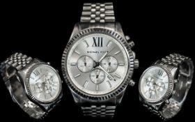 Michael Kors MK 8405 Lexington Steel Mens Chronograph Watch, Features Silver Dial,