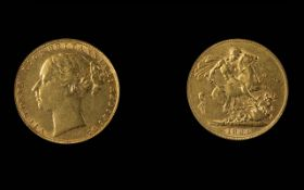 Victoria - Young Head 22ct Gold Full Sovereign. Date 1884, London Mint - Nice Grade. Weight 7.