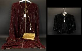 A Heavily Beaded Shift Dress And Matching Evening Jacket Mulberry tone crepe chiffon sleeveless