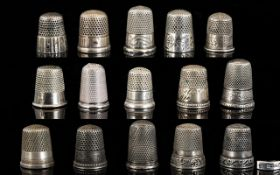 Antique Period - Good Collection of White Metal Thimbles ( 15 ) In Total.