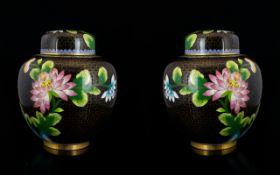 A Pair Of Oriental Cloisonne Lidded Jars Ovoid form squat ginger jars,