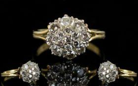 18ct Gold - 1930's Diamond Set Cluster Ring, Flower head Design.