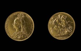 Victoria - Jubilee Head 22ct Gold Full Sovereign - Date 1890. London Mint - Nice Grade. Weight 7.