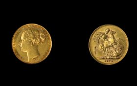 Victoria Young Head 22ct Gold Full Sovereign - Date 1879. Mint - Melbourne Australia. High Grade