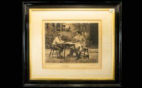 Walter Dendy Sadler (British 1854-1923) Untitled Artist Signed Etching Depicting three Georgian