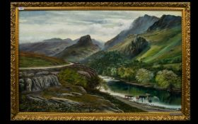 Keith Sutton Local Artist Interest 'Borrowdale' Oil On Canvas Mountainous landscape with river and