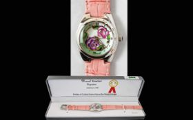 Ladies Fashion Watch By Marcel Drucker Complete with original box, pink faux leather strap,