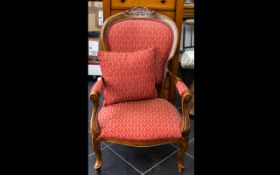 Bedroom Chair A high backed chair with serpentine apron, carved shell detail to headrest, the seat,
