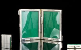 A Portable Miniature Double Silver Folding Photo Frame In The Form of a Stamp / Card Case.