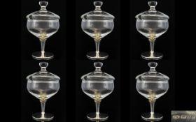 Elizabeth II Contemporary Designed Set of Six Wonderful Silver and Glass Sundae / Ice cream Dishes.