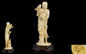 Japanese Tokyo School - Signed Meiji Period 1864 - 1912 Finely Carved Ivory Okimono of a Priest