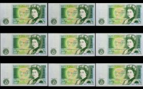 Bank of England Collection of One Pound Banknotes - All In Uncirculated - Mint Condition ( 9 ) Nine