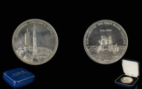 Apollo II 1st Moon Landing Solid Silver Commemorate Medallion - Armstrong,
