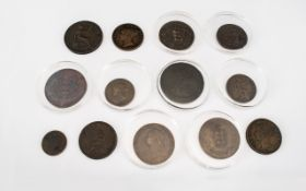 A Mixed Collection Of Victorian Copper Coinage Comprising A 1902 Guernsey 8 doubles, 1724 Farthing,