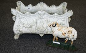 A Victorian Style White Painted Planter Rectangular form with fluted edges and shell detail to body,
