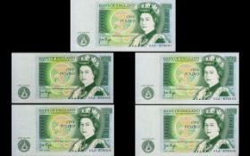 Bank of England Five ( 5 ) Consecutive One Pound Banknotes, All In Uncirculated Mint Condition.