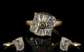 14ct Gold - Art Deco Style Baguette and Brilliant Cut Diamond Set Dress Ring. c.1970's.