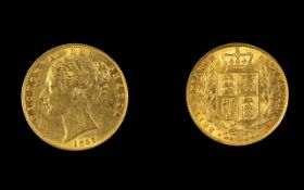 Victoria 22ct Gold Full Shield Back Sovereign - Date 1857. Mint London & High Grade.