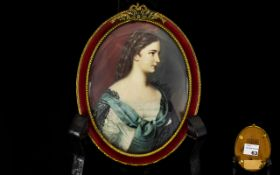 19th Century Superb Quality Hand Painted and Signed Portrait Miniature on Bone / Ivory of a Young