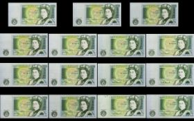 Bank of England Collection of One Pound Banknotes ( 15 ) Banknotes In Total.