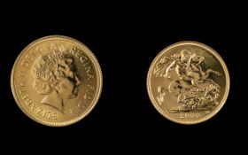 Elizabeth II 22ct Gold Full Sovereign - Date 2000. Mint Condition, Weight 7.98 grams.