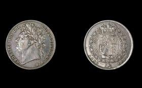 George IIII Laureate Head Silver Half Crown - Date 1823.