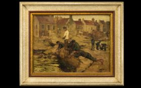 Newlyn School Oil On Canvas Depicting coastal street scene with group of boys fishing, framed,