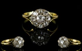 Antique Period 18ct Gold Diamond Set Cluster Ring, Flower head Design.
