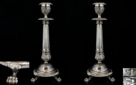 A Pair Of Dutch 19th Century Superb Quality Cast Silver Candlesticks Of classical form with reeded