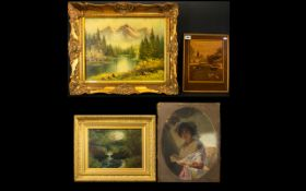 A Mixed Lot Of Paintings To include mountainous landscape, landscape unsigned, forest stream,