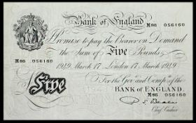 Bank of England White Five Pound Banknote - Good to High Grade. Serial M86-056160.