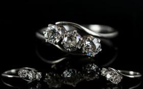 18ct White Gold 3 Stone Diamond Set Ring - The Old Round Brilliant Cut Diamonds of Good Colour /