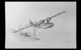 Terry Farrimond ( 20th Century ) A Catalina British Plane JX208 (20th Century) Dropping Bombs on an