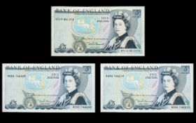 Bank of England - Duke of Wellington Five Pound Banknotes ( 3 ) - All In Mint / Uncirculated