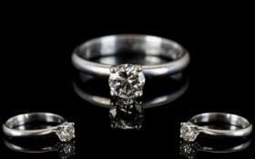 Contemporary Design 18ct White Gold Single Stone Diamond Ring,