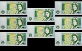 Bank of England Collection of One Pound Banknotes - All In Uncirculated / Mint Condition ( 8 )