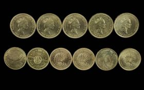 Royal Mint Issue Elizabeth II Two Pound Coins ( High Grade - Uncirculated ) Eleven ( 11 ) In Total.