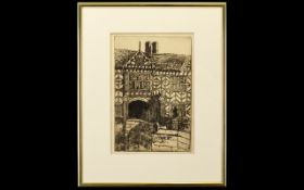 Untitled Engraving On Paper Framed and mounted under glass, depicting Speke Hall, Cheshire. 9 x 6