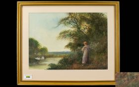 Fred Hines - Early 20th Century - A Young Lady Carrying Sticks and Standing on The Riverbank