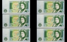 Bank of England Collection of One Pound Banknotes - All In Mint / Uncirculated Condition ( 6 ) Six