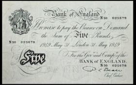 Bank of England White Five Pound Banknote - High grade Note.