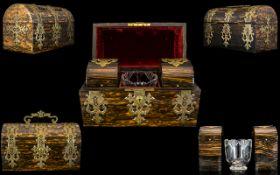 Mid Victorian Period Superb Quality Coromandel Wood Tea Caddy,
